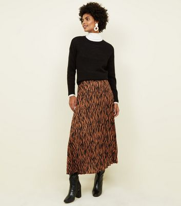 Rust Zebra Print Pleated Midi Skirt