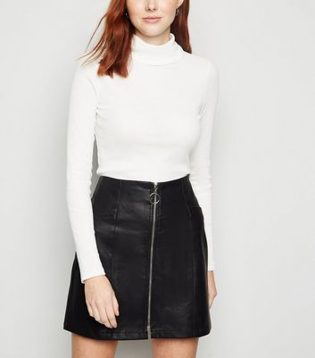 Black Ring Pull Zip Leather-Look Mini Skirt