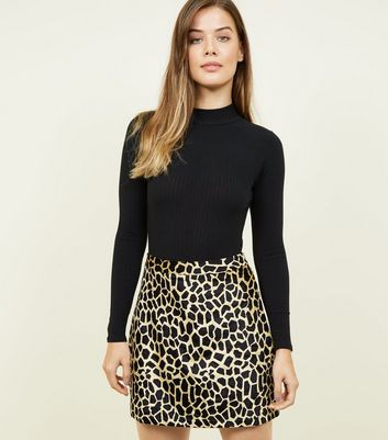 Pink Vanilla Brown Velvet Animal Print Skirt