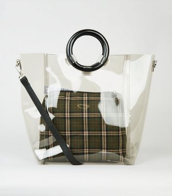 Black Tinted Ring Handle Tote Bag