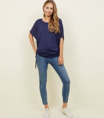 Apricot Navy Batwing Side Drawstring Top New Look
