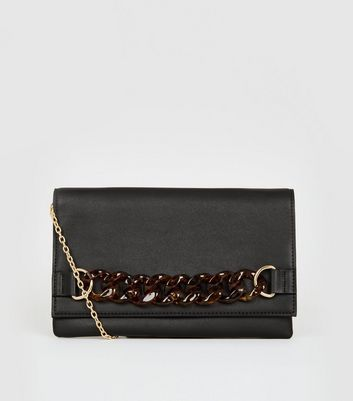 Black Resin Chain Clutch Bag
