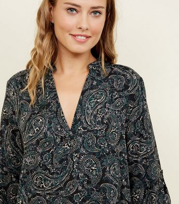Apricot Black Paisley Print V-Neck Top New Look