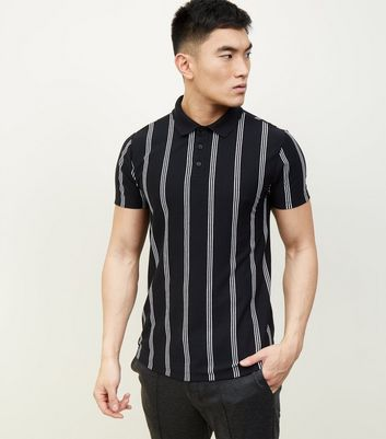 Black Vertical Stripe Polo T-shirt