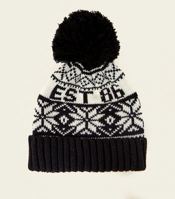 Black Est 86 Fairisle Bobble Hat