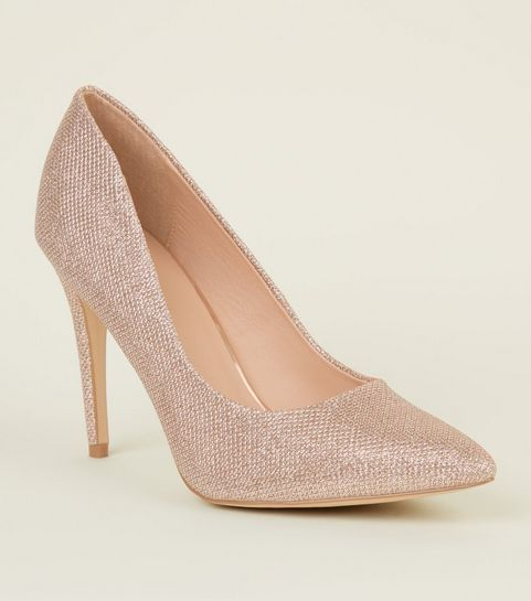 c53d499706f020 ... Rose Gold Glitter Pointed Court Shoes ...
