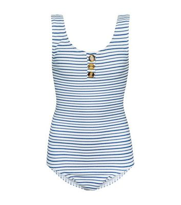Girls White Glitter Stripe Button Front Swimsuit