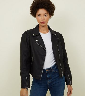 Black Puff Sleeve Leather-Look Jacket