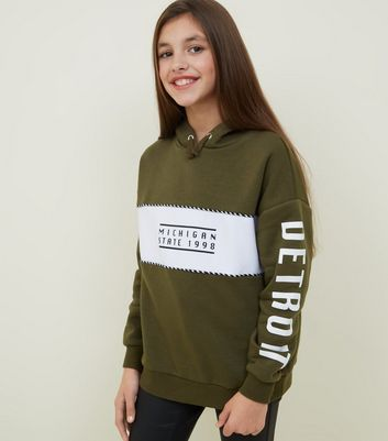 Girls Khaki Michigan Colour Block Hoodie