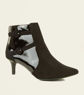 Wide Fit Black Suedette and Patent Buckle Shoe Boots