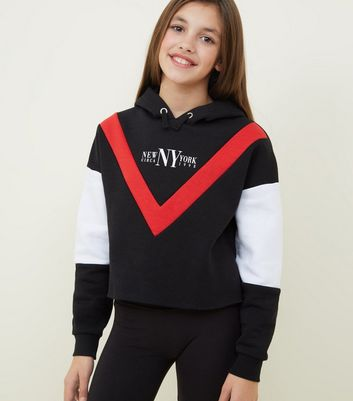 Girls Black NY Chevron Colour Block Hoodie