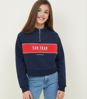 Girls Blue San Fran Slogan Sweatshirt