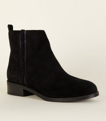 Wide Fit Black Suede Flat Boots   New Look