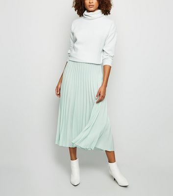 Mint Green Pleated Midi Skirt