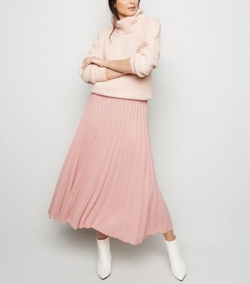 Mid Pink Pleated Midi Skirt