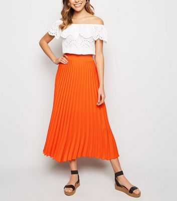 Bright Orange Neon Pleated Midi Skirt