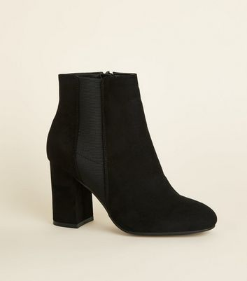 Wide Fit Black Suedette Block Heel Chelsea Boots Add to Saved Items Remove from Saved Items