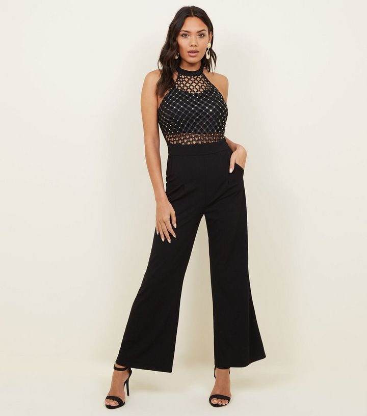 7b794abf07d Cameo Rose Black Lattice Bodice High Neck Jumpsuit
