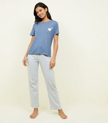Pale Blue Metallic Heart Logo Pyjama Set