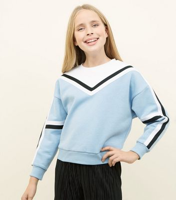 Girls Pale Blue Colour Block Tape Sweatshirt