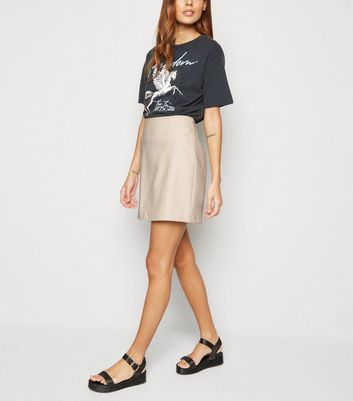 Stone Faux Pocket Leather-Look Mini Skirt