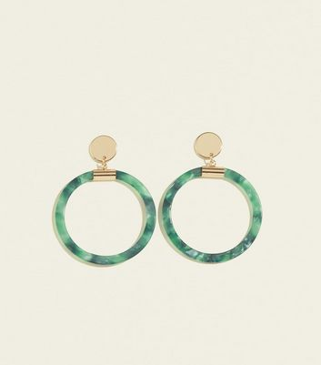 RE:BORN Green Resin Disc Drop Earrings