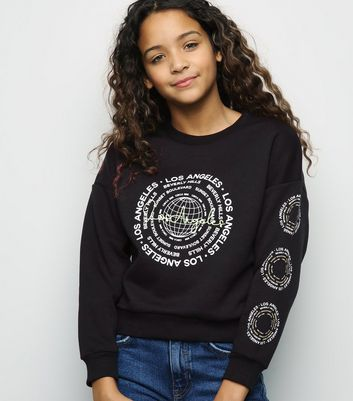 Girls Black Globe Los Angeles Slogan Sweatshirt