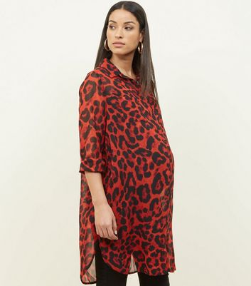 Red Leopard Maternity Shirt