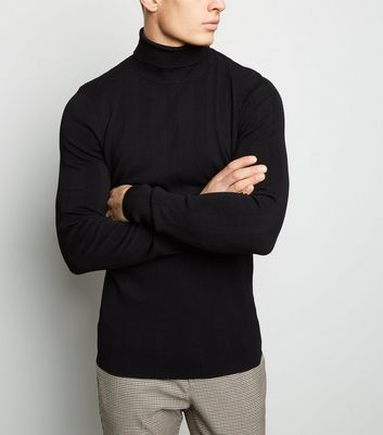 Black Ribbed Stripe Roll Neck Jumper