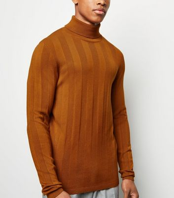 Tan Ribbed Stripe Roll Neck Jumper