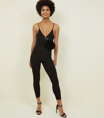 Black Ribbed Catsuit