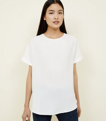 Off White Crepe Twill Rolled Sleeve Top by New Look