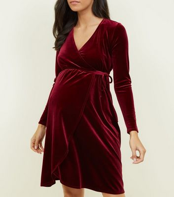 Maternity Burgundy Velvet Wrap Dress
