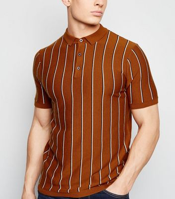 Tan Vertical Stripe Polo Shirt