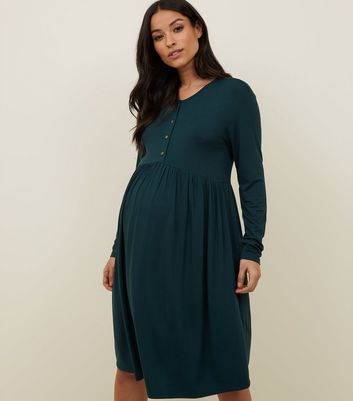 Maternity Dark Green Nursing Smock Dress