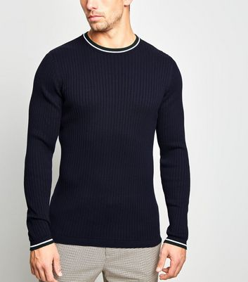 Navy Ringer Neck Muscle Fit Jumper