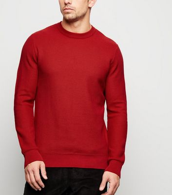 Red Honeycomb Knit Jumper