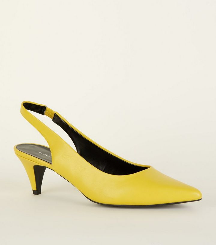 f2b942903a8 Yellow Elasticated Slingback Kitten Heels Add to Saved Items Remove from  Saved Items