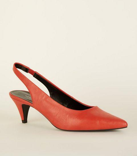 9fd703d14adf Red Elasticated Slingback Kitten Heels · Red Elasticated Slingback Kitten  Heels ...