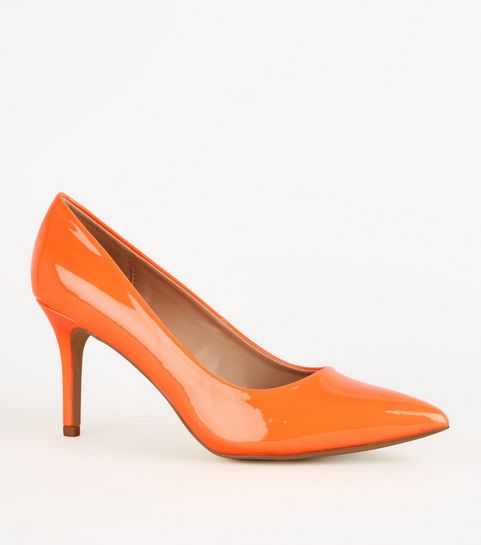 8655911ebc36 ... Orange Patent Pointed Court Shoes ...