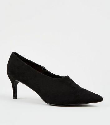 Black Suedette Kitten Heel Shoe Boots