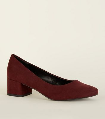 Dark Red Suedette Low Block Heel Courts