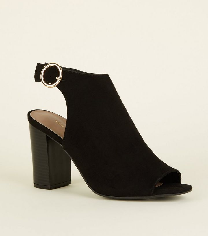 Black Suedette Peep Toe Heels  9b5510b8e