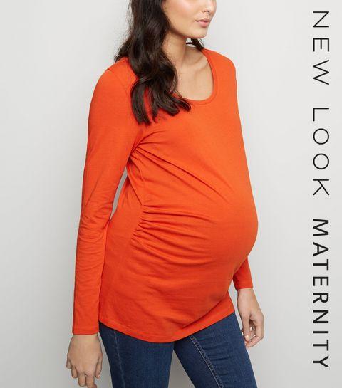 ca7ce0f101a957 ... Maternity Bright Orange Long Sleeve Top ...
