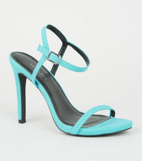 2c8465570c86c ... Sandales turquoise à brides discrètes et talons aiguilles ...