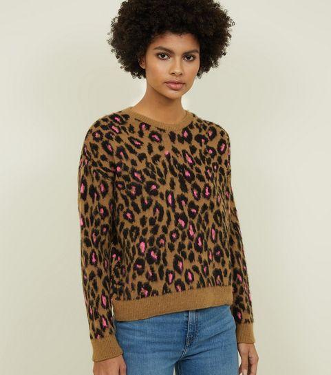 fe1128bdce2 ... Brown Brushed Neon Leopard Print Jumper ...