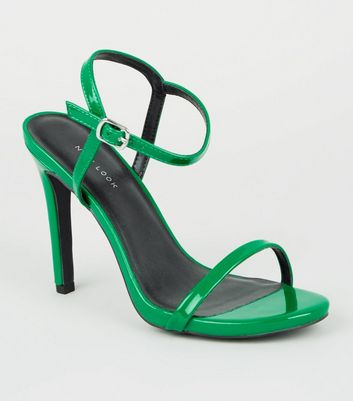 Dark Green Patent Barely There Stiletto Sandals