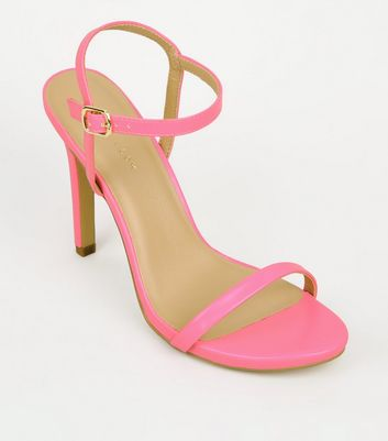Pink Neon Patent Barely There Stilettos