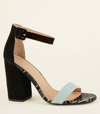 Mint Green and Faux Snake Trim Block Heels