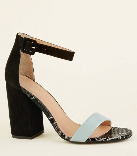 700ef04c65c ... Mint Green and Faux Snake Trim Block Heels ...